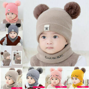 Toddler Baby Girl/&Boy Infant Winter Ski Crochet Knitted Hat Beanie Cap Scarf Set