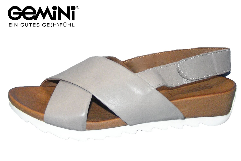Gemini Damen Sandale Grau Taupe Leder Sommer Pantolette bequem 3627-02-444 NEU