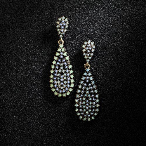 Boucles d/'Oreilles CLIP ON Doré Deux Goutte Fin Mini Perle Vert Bleu Original X9