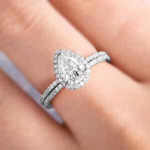 2ct Pear Cut Diamond Engagement Ring Wedding Band Solid 14k White