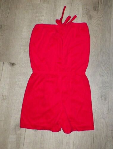 VINTAGE 1970's RED TERRY CLOTH ROMPER NEVER WORN S
