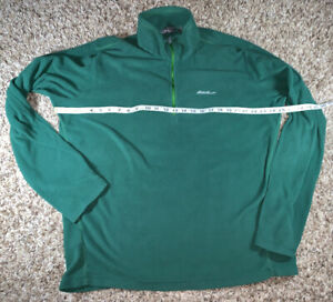 Eddie-Bauer-Polartec-Mens-Size-TL-Green-Fleece-Half-Zip-Thin-Pullover-Jacket