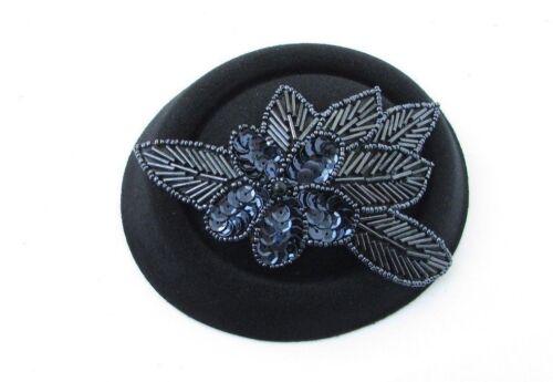 Black Navy Blue Sequin Bead Pillbox Hat Hair Fascinator Races Cocktail Vtg 4792