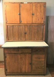 Details about Antique Authentic Hoosier Brand Hoosier Cabinet with  Porcelain Top