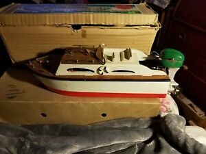 Details about Cabin Cruiser wooden model boat Japan with original box  outboard motor