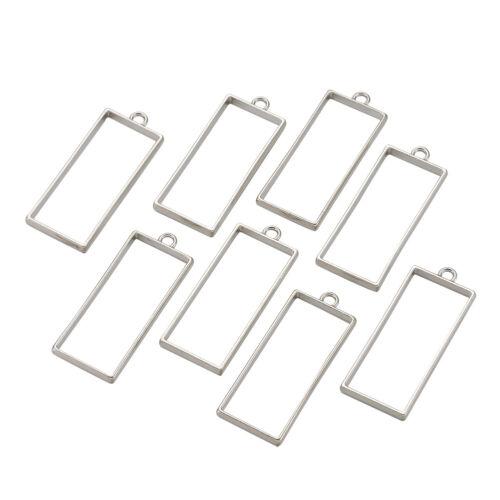 10pc Silver Rack Plating Alloy Rectangle Hollow Open Back Bezel Pendants 49x20mm