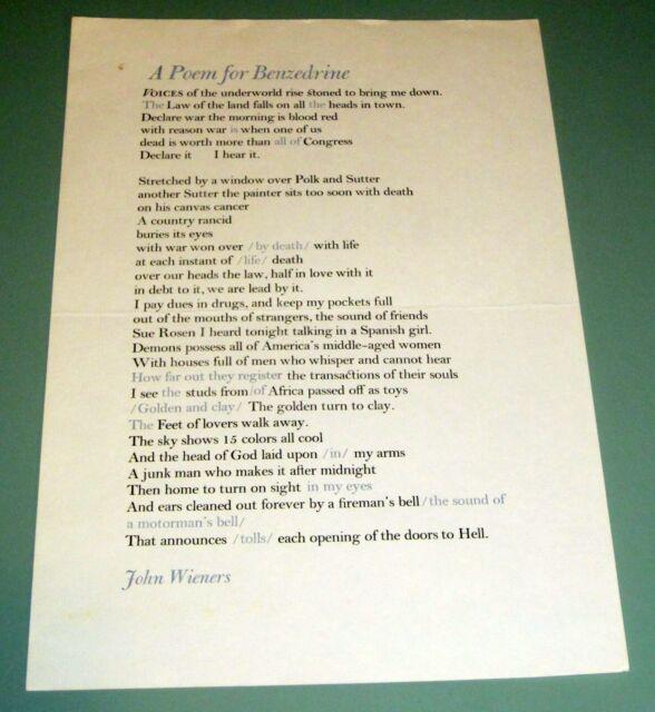 JOHN WEINERS POEM FOR BENZEDRINE 1976 BEAT POET Amphetamine BENNIES Psychedelic