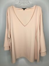 Lane Bryant Size 14//16 Hot Coral LS Relaxed Fit V Neck top w// Ruffles /& Beads