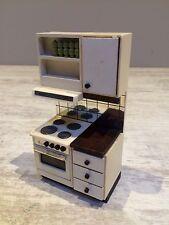Puppenmöbel Lundby Küchenschrank Küche Herd Ofen Schrank weiß 80er Jahre