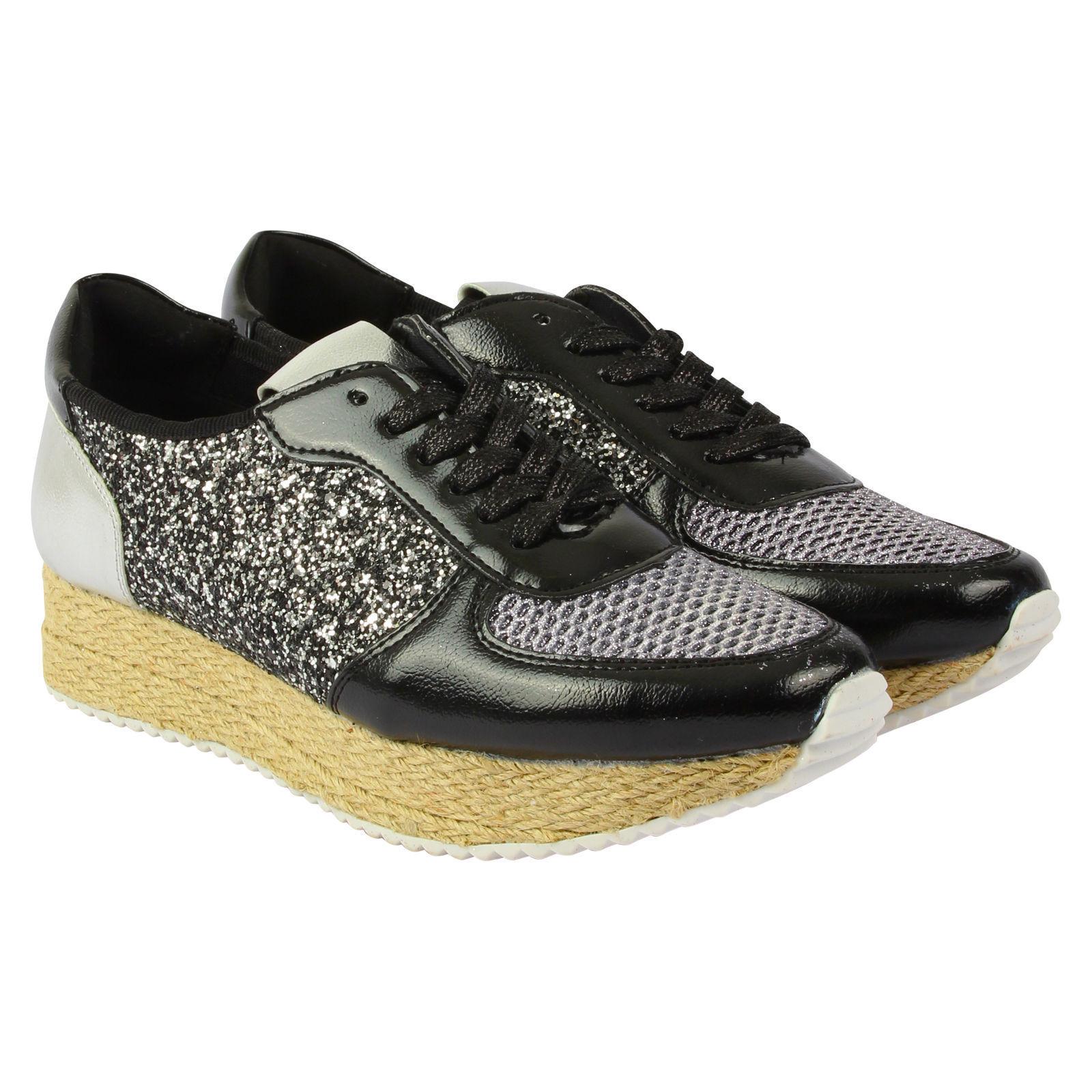 Haut Femme Trendy Baskets à Lacets Plateforme Femmes Chaussures De Course Noir Cheville Taille 7