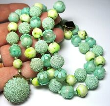 VINTAGE 1950's Signed Pale Green Early Plastic Flower Bead JEWELLERY NECKLACE