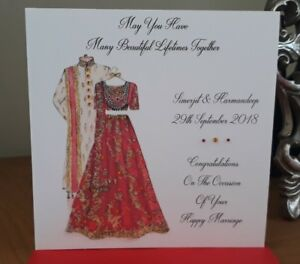 Handmade Personalised 6 Square Indian Wedding Congratulations Card