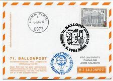 1984 Ballonpost n. 71 Pro Juventute Aerostato D-Ergee V Lans. Tirol Lin