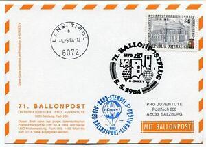 1984 Ballonpost N. 71 Pro Juventute Aerostato D-ergee V Lans. Tirol Lin Les Catalogues Seront EnvoyéS Sur Demande