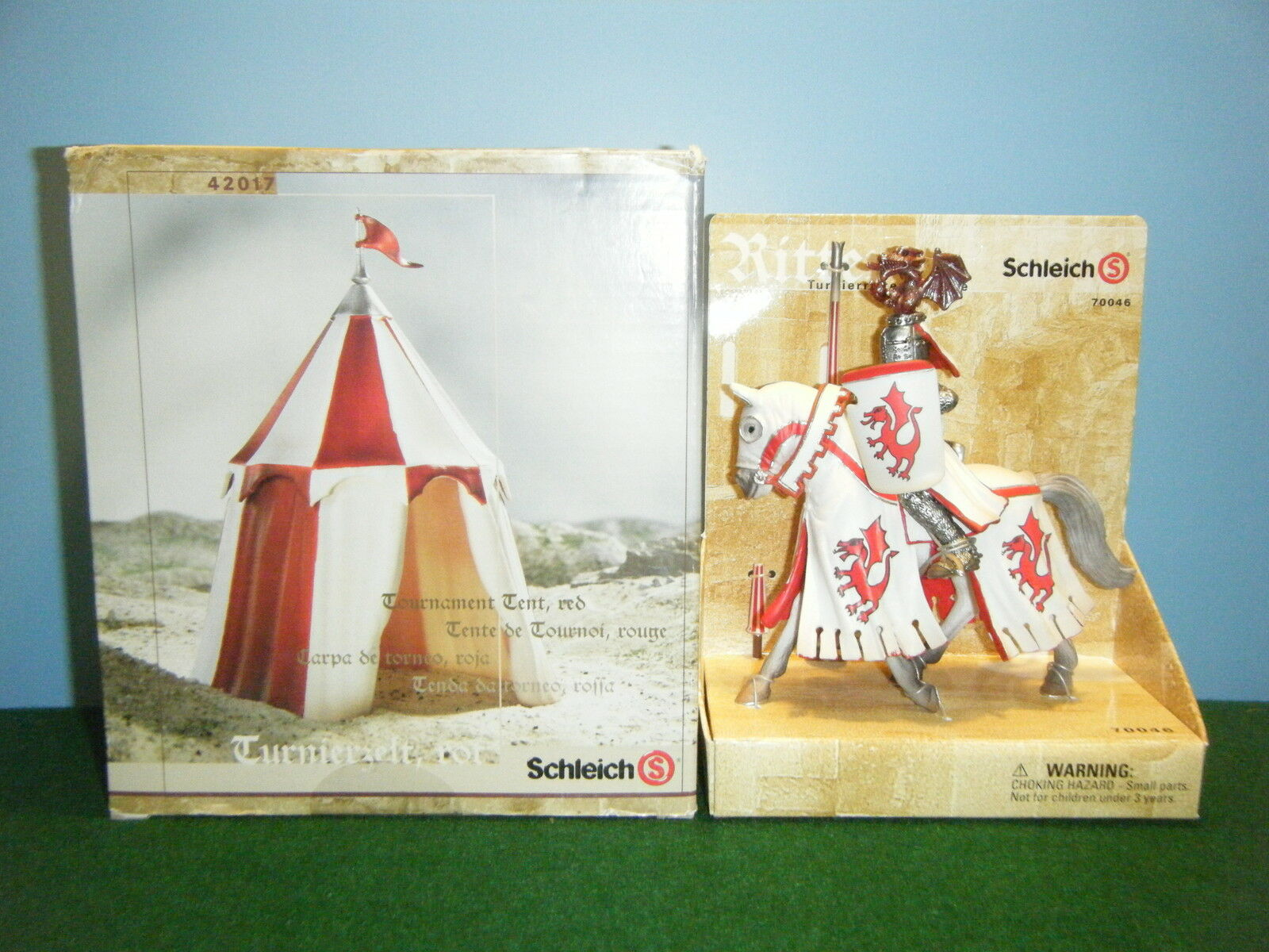 SCHLEICH WORLD OF KNIGHTS TOURNAMENT DRAGON KNIGHT  70046 & ROT TENT  42017