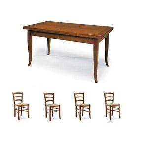Sedie In Legno Arte Povera.Set Tavolo Cucina 4 Sedie In Legno Fondo Paglia Noce Arte Povera