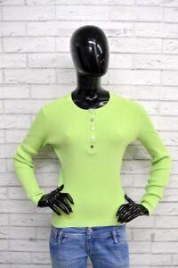 Maglione-TOMMY-HILFIGER-Donna-Taglia-Size-M-Pullover-Sweater-Cotone-Verde-Chiaro
