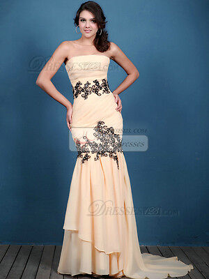 Mermaid/Trumpet Strapless Sweep Crystal Evening Prom Dresses 0 USA Seller