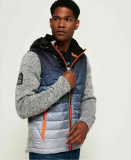 New Mens Superdry Storm Ombre Hybrid Zip Hoodie Grey Granite Marl
