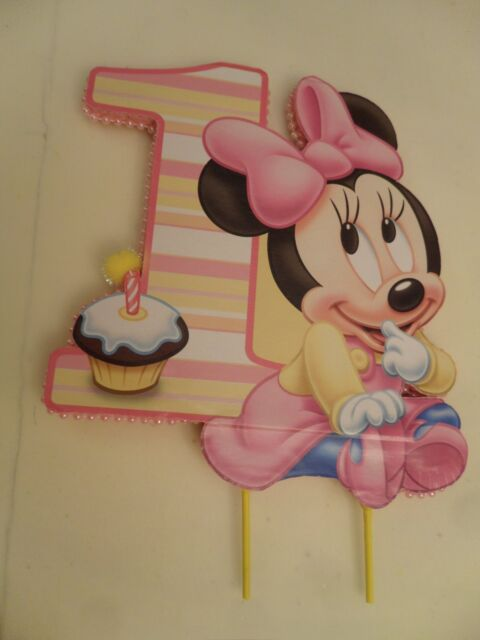 Sensational Baby Minnie Mouse First Birthday Cake Topper Or Centerpiece For Birthday Cards Printable Riciscafe Filternl
