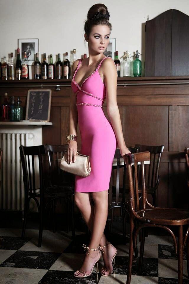 DSQUARED 2 rosa impreziosito vestito aperto aperto aperto indietro UK8 IT40 RRP1800GBP DSQUARED 7a73a7