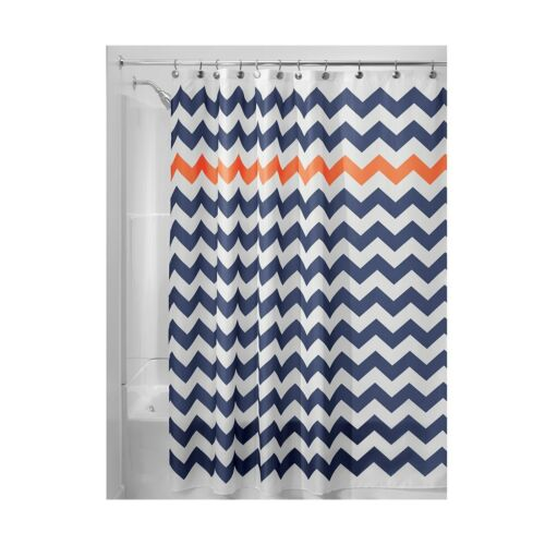 "InterDesign Chevron Soft Fabric Shower Curtain 72/"" x 72/"" Navy//B.. Free Shipping"