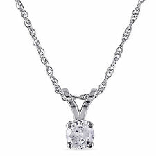 10k White gold 1/6 Ct TDW Diamond Solitaire Necklace Pendant I-J, I2-I3 17""