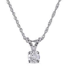 "10k White gold 1/6 Ct TDW Diamond Solitaire Necklace Pendant I-J, I2-I3 17"""