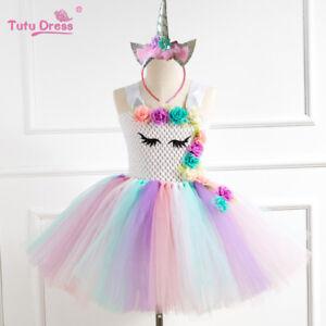 US-STOCK-Flower-Girls-Unicorn-Tutu-Dress-Princess-Girls-Birthday-Party-Dress-ZG9