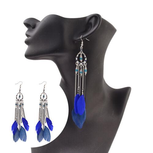 Charm Vintage Women Bohemian Boho Long Blue Feather Tassel Drop Dangle Earrings