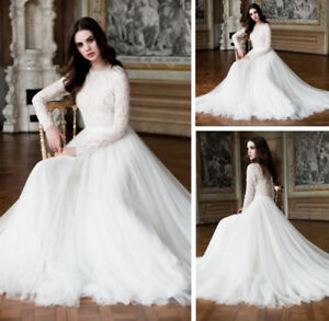 b57daa62fb4 White Ivory Muslim Long Sleeve Wedding Dress Lace Tulle Bridal Gowns ...