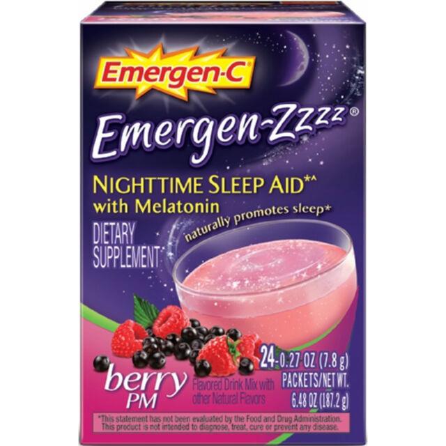 Emergen-C Emergen-Zzzz Nocturna Ayuda para Dormir con / Melatonina, 24 Paquetes