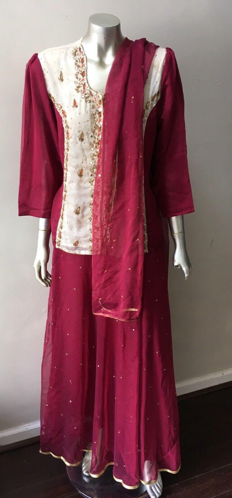 Embellished Silk 3 piece India Shawl Long skirt Festival Ethnic Suit Set L