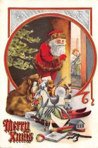 MERRY-XMAS-Santa-Claus-Tree-amp-Toys-Christmas-1912-Vintage-Embossed-Art-Postcard
