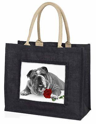 süß Bulldogge mit rotem Rose große schwarze Einkaufstasche WEIHNACHTEN Prese ,