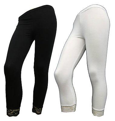 Donna Inferiore In Pizzo 3/4 Taglio Corto Viscosa Donna Legging Pantaloni Pants 8-16-mostra Il Titolo Originale