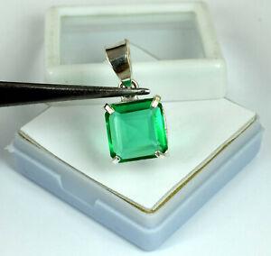 925-Sterling-Silver-Pendant-10-40-Ct-Natural-Emerald-Cut-Muzo-Emerald-Certified