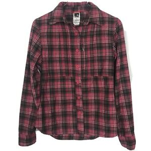 The-North-Face-Flannel-Shirt-Small-Womens-Pink-Plaid-Button-Front-Chest-Pocket