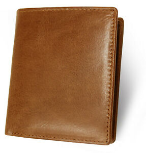 88a45e7502 Details about Topsum London Mens RFID Blocking Slim Genuine Leather  Billfold Wallet 4020-TAN