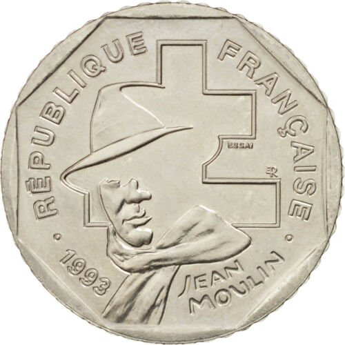 #16318 France, 2 Francs Jean Moulin, 1993, Pattern, MS6570, Nickel