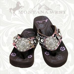 a05b76b1a65f9 Montana West Camo Floral Flip Flops Women Wedge Sole Sandals Bling ...
