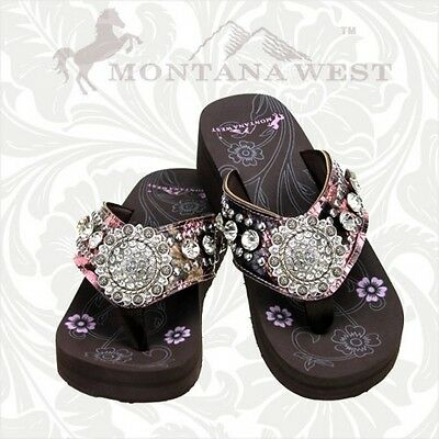 Montana West Camo Floral Flip Flops Women Wedge Sole Sandals Bling Concho Pink