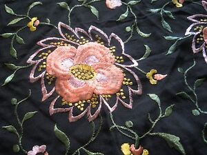 ANTIQUE-FRENCH-SHAWL-BLACK-SILK-EMBROIDERY-OF-FLOWERS