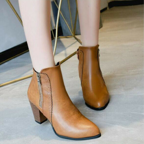 Womens Chelsea Ankle Boots Chunky Flat Low Heel Ladies Zipper Design Shoes Size