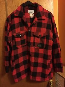 9c3d954d3e8f5 Vintage CODET Red Black Buffalo Plaid Field Barn Jacket Coat Made In ...