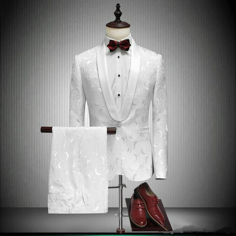 Mens White Jacquard Paisley Tuxedos Groom Wedding Prom Dinner Suit Tailored