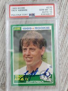 1989-Score-270-Troy-Aikman-RC-Rookie-PSA-10-Auto-10-POP-17-HOC85
