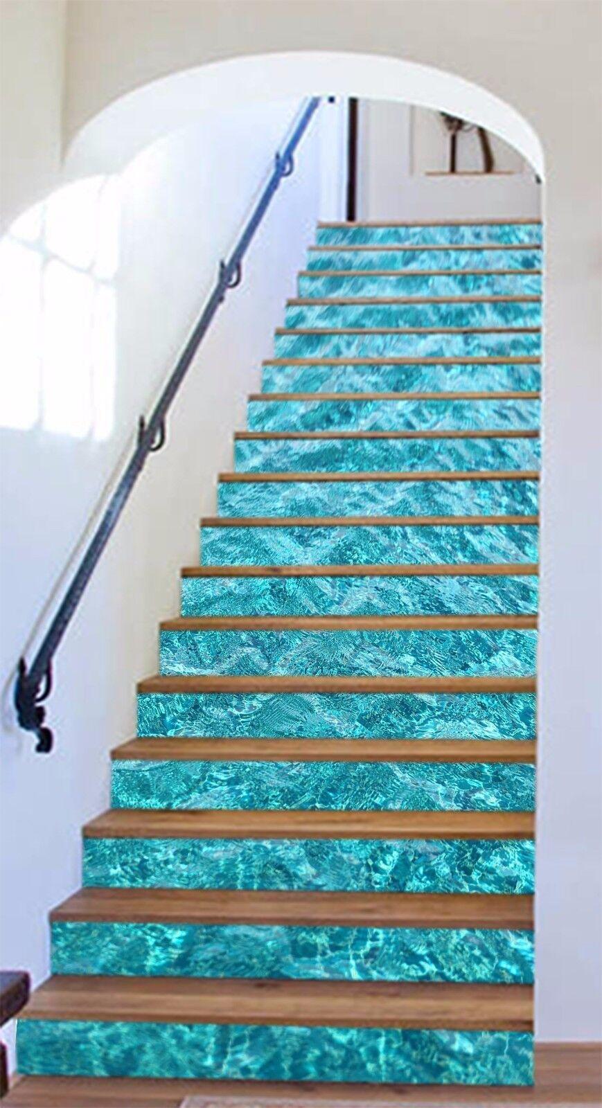 3D Shiny Sea Water Stair Risers Decoration Photo Mural Vinyl Decal WandPapier UK