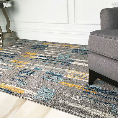 Teal Blue Ochre Yellow Paint Effect Living Room Rugs Soft