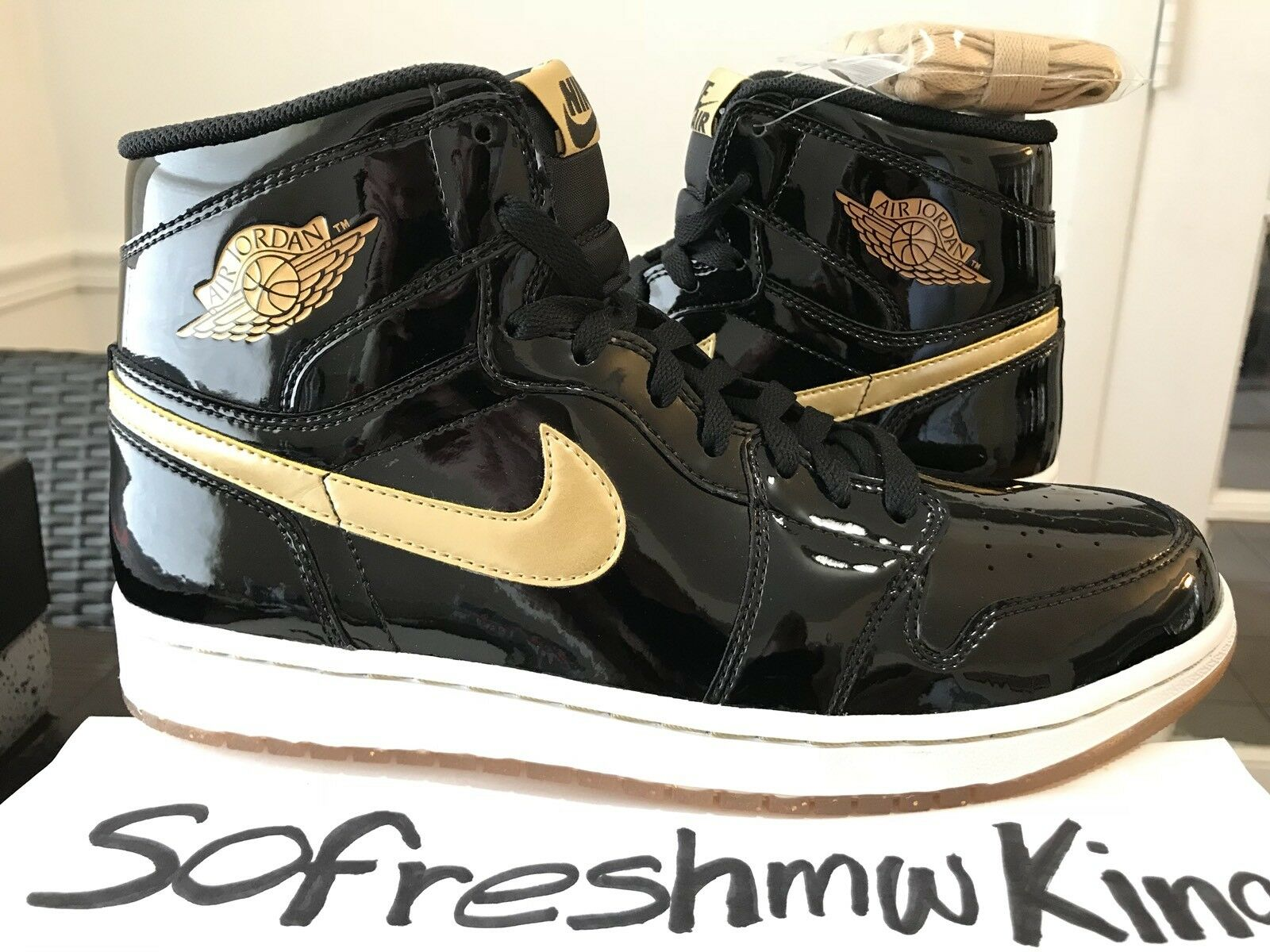 2013 Nike Air Jordan 1 BLACK gold Promo Sample  sz 9.5 DS  PE OREGON LOS